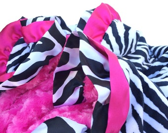 Adult Size Zebra Blanket With Hot Pink Double Ruffle