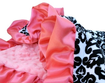Black and White Damask Minky Baby Blanket with Coral Dot minky Back and Satin Ruffle Trim