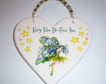"Fairy Ceramic Plaque, ""Fairy Tales Do Come True"", Childs Room , Beaded Wire Hanger,Whimsy,  Multicolored Stars"