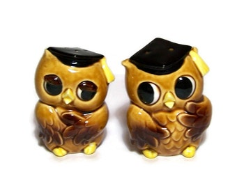 Vintage Owl Salt and Pepper Set Mid Century Dorm Room Decor Teacher Gift