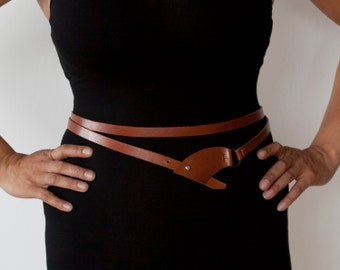 Double Wrap Brown Leather Belt  - the Chica
