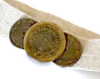 Vintage Aztec Mayan Calendar Belt - 90's Southwest Ethnic Tribal Beige Women's Strecthy Belt