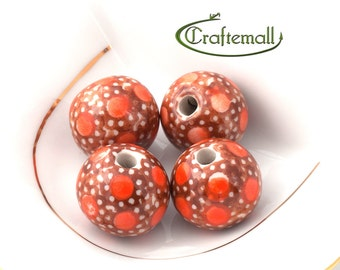 40% OFF SALE: Handmade ceramic beads - set of two beads - Polish Pottery beads - decoration nr.1