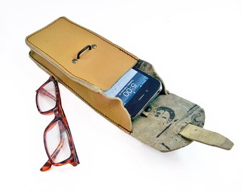 Military Surplus Leather Magazine Pouch - Perfect for iPhones, Glasses, Pruning Shears, Etc.