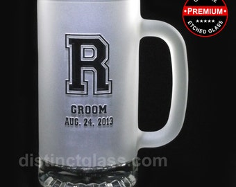 Wedding Party Gifts - FROSTED JERSEY MONOGRAM Beer Mugs - 16 oz Etched Glasses by Distinct Glass Studio - Ships to Canada