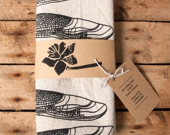 tea towel dragonfly screen printed kitchen cotton handmade vintage style winger french
