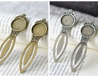Bookmark Base- 18mm Round Bezel Cup Cabochon/ Cameo Mountings, 6PCS, 2 colors available- Antique bronze, Antique silver