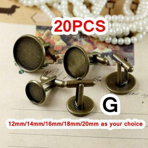 20 Cufflinks- Brass Antique Bronzed Cufflink W/ Round Bezel Setting Wholesale, 12mm/ 14mm/ 16mm/ 18mm/ 20mm as your choice- Z6091a