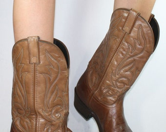 Sale was 60 Vintage cowboy cowgirl brown tan Laredo heel knee high tall western Leather fashion boots 9 D mens