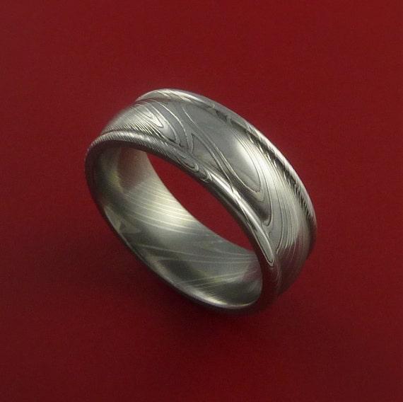 Damascus Steel Ring Wedding Band Genuine Craftsmanship Any