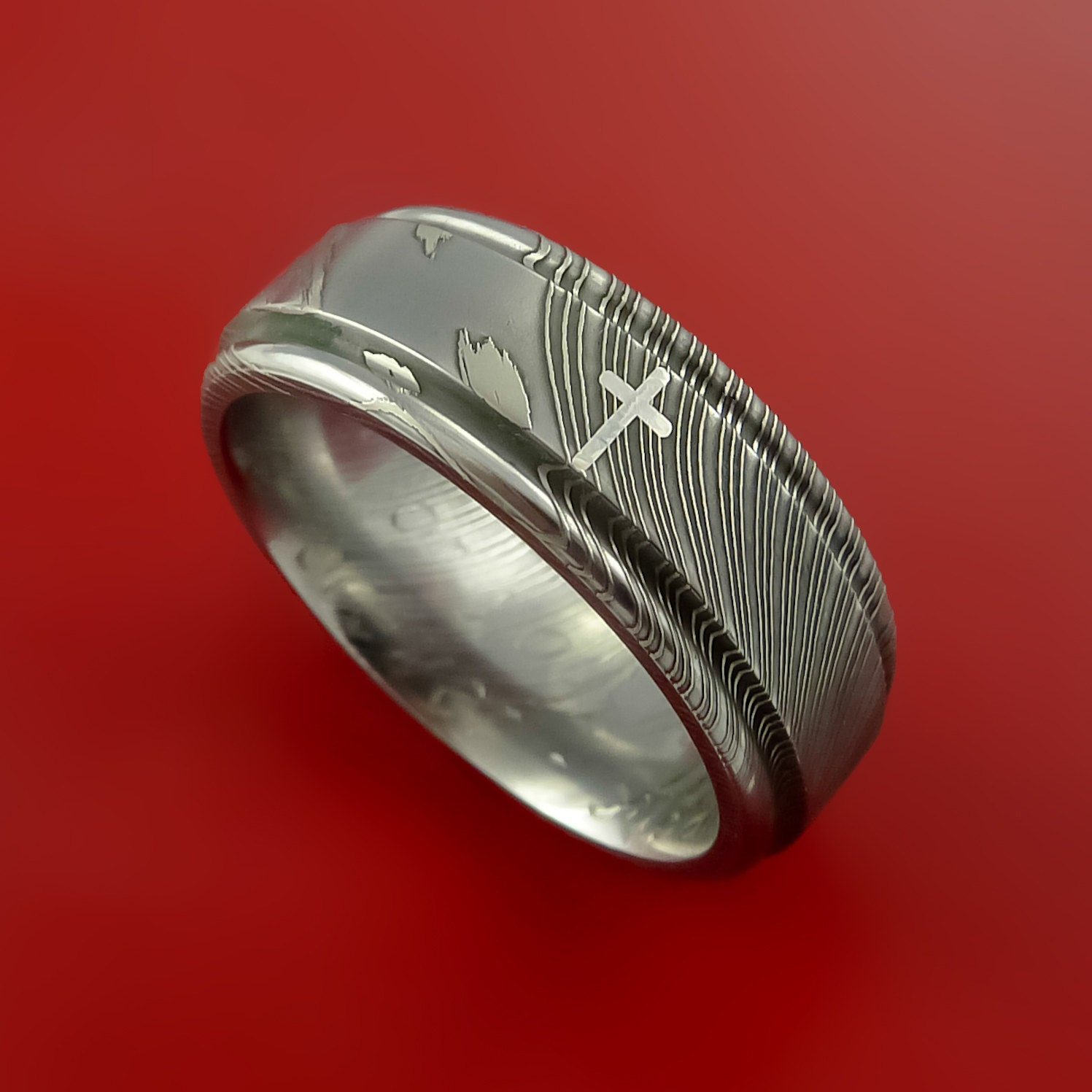 Damascus Steel Christian Ring And Palladium By Stonebrookjewelry