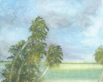 original acrylic 8x10 scenic florida bowman wild beach palm tree bay key inlet view scene painting happypaints