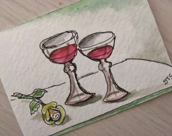 ACEO Original  Watercolor Painting with Ink Wine Goblets with Rose