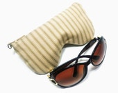 Beige Stripe Ticking Eyeglass Case, Sunglasses Pouch, Sunglasses Case, Zippered Eye Glass Case