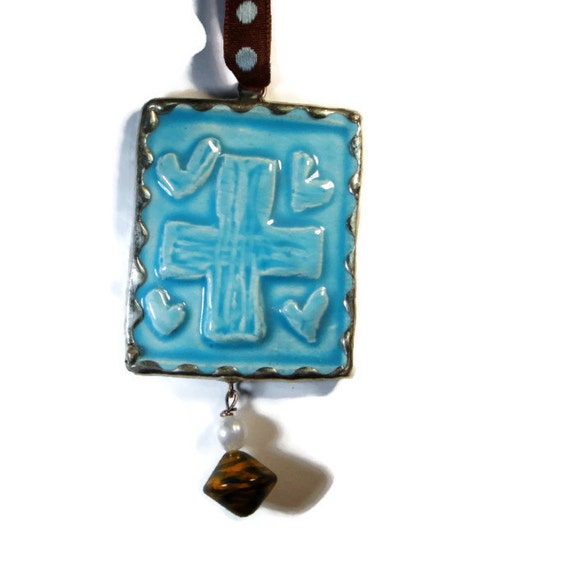 Clay Soldered Cross Ornament or Jewelry