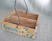 Rustic Wood Caddy / Crate / Basket for Wedding or Home Decor / Primitive Wood Herb Crate for Woodland or Garden Wedding
