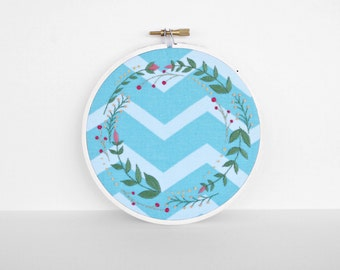 Blue and White Chevron with Traditional Floral, Botanical Embroidery Border - 5 inch Embroidery Hoop Fiber Art