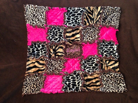Custom rag quilted in cheetah, zebra, giraffe hot pink and brown for girl monogramming included