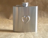 Ready to Ship Wedding Gift Silver Love Heart 6 ounce Stainless Steel Gift Flask KR2D7430