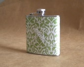 Personalized Green and White Damask Print 6 ounce Stainless Steel Flask with Rhinestone Initial KR2D5052
