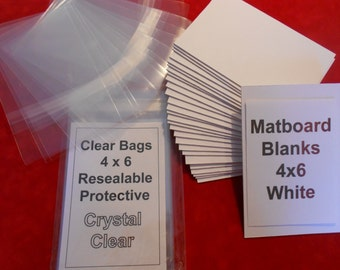 Matboard Backs and Clear Bags (24) each 4 x 6 Matboard Blanks Bags to Fit