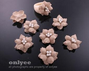 4Pcs-21mmX10mm Small Hard Fabric beautiful Flower-Beige (J121-C)