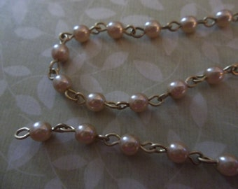 Bead Chain Gold 4mm Glass Pearls on Brass Beaded Chain - Qty 18 inch strand