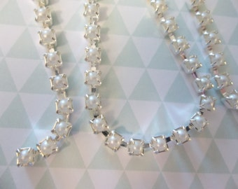 3mm White Glass Pearls Cup Chain - Silver Plated Setting - Czech Glass Pearls - Rhinestone Chain