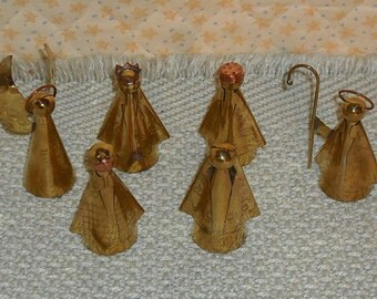 Vintage 6 Piece Brass Nativity Set Christmas Decoration Ornaments Holiday Seasonal Angels Magi Home Decor Retro