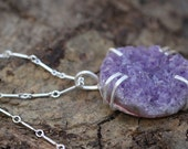 Amethyst Geode- Sterling Silver Prong Setting