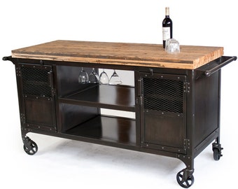 Rolling Custom Handmade Bar Cart, Reclaimed Train Car Flooring, Bar, Bar Cart, Coffee Cart, Liquor Cart, Home Bar, Mini Bar, Kitchen Island