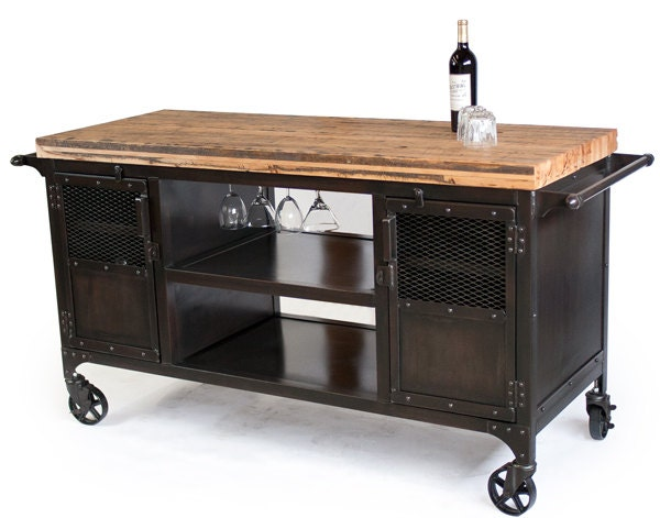 Rolling Custom Handmade Bar Cart Reclaimed Train Car