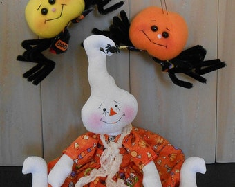PDF E-Pattern #78 Raggedy Ghost Doll Spider Halloween Holiday Primitive Folk Art Sewing Craft