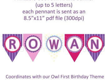 Printable Custom name banner - coordinates with owl first birthday theme (up to 5 letters)