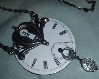 Vintage pocket watch face and key hole necklace