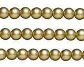 Wood Round  Beads Gold 6mm 16 Inch Strand
