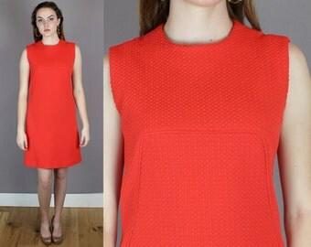 Vintage 1960s Mod Shift Dress in Persimmon