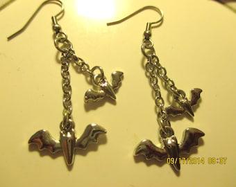Two Flying Bats Earrings