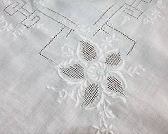 Linen Tablecoth Whitework Cutwork and Embroidery 32 x 33