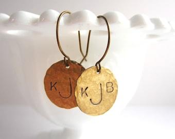 Custom Monogram Earrings Hand Hammered Brass Dangle Earrings Initial Jewelry Initial Earrings Gifts for Her Women's Accessories