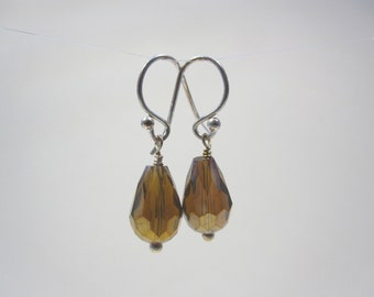 Faceted Amber Chinese Crystal Drops on Sterling Silver Earwires