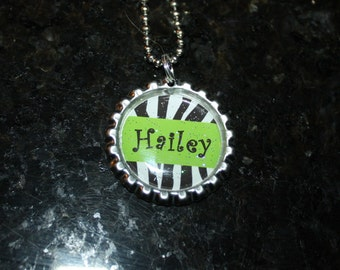 Green Zebra Personalized Bottle Cap necklace