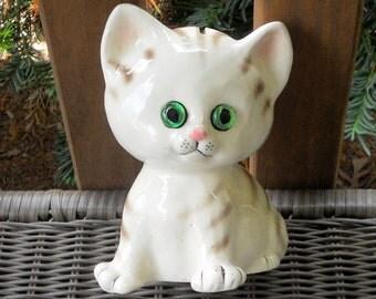 Vintage Lefton Tiger Striped Kitty Cat Bank Glass Eyes