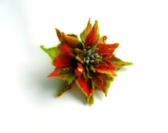 Autumn FLOWER Red Pin felt  brooch -  green and red, ready to shipGift under 50 USD