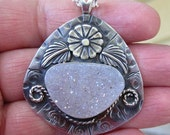Native American Inspired Druzy Quartz Sterling Silver Pendant