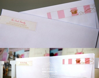 Princess Skinny Wrap-Around Return Address Pink and Gold Labels by FLIPAWOO - Customized Printable File