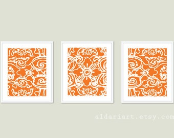 Abstract Flower Digital Print Set - Modern Triptych -  Tangerine Orange Wall Art - by Aldari Art