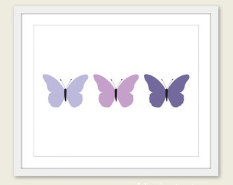 Butterflies Art Print - Purple Violet -  Spring Summer Decor - Wall Art - Under 20