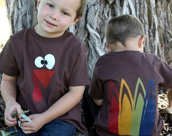 5/6 size Turkey shirt with feathers on the back short sleeve Thanksgiving READY TO SHIP!