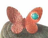Copper Butterfly Ring with Amazonite, size 8